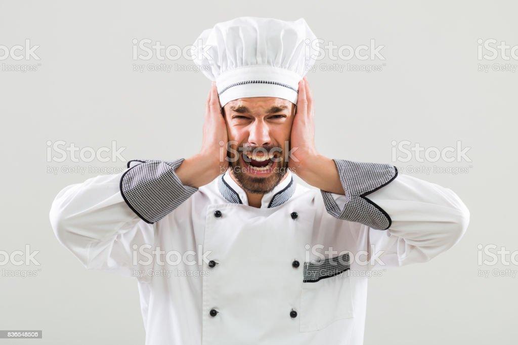 Chef em pânico - foto de acervo