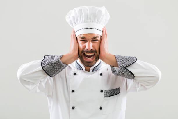 chef  in panic - chef triste foto e immagini stock