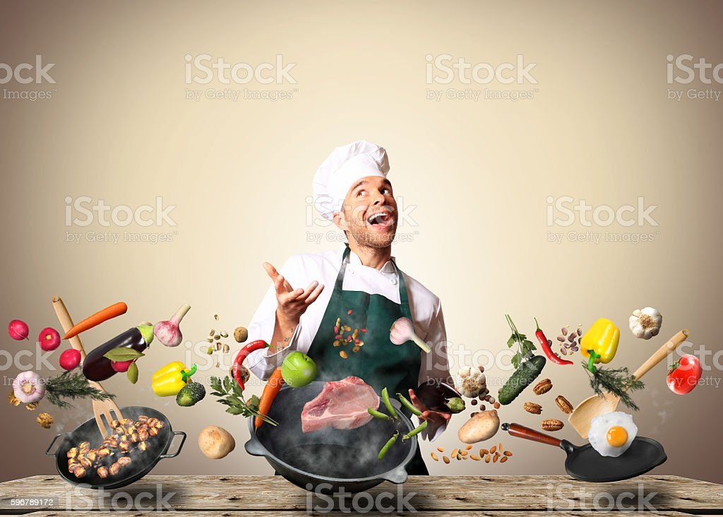 Chef in the kitchen stock photo