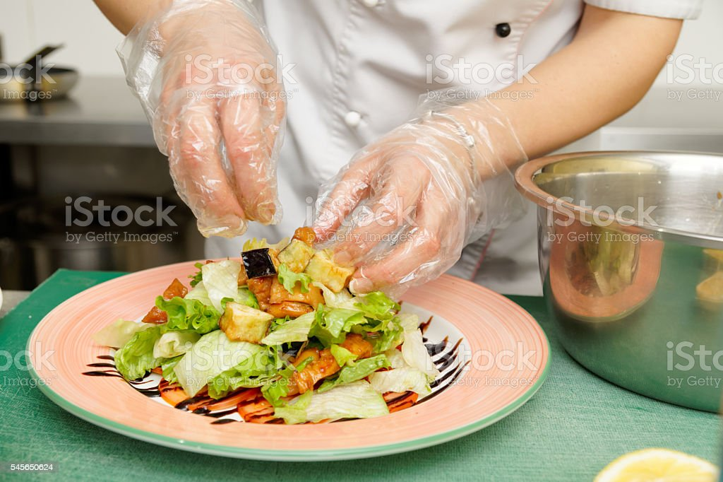 Chef is cooking appetizer stock photo