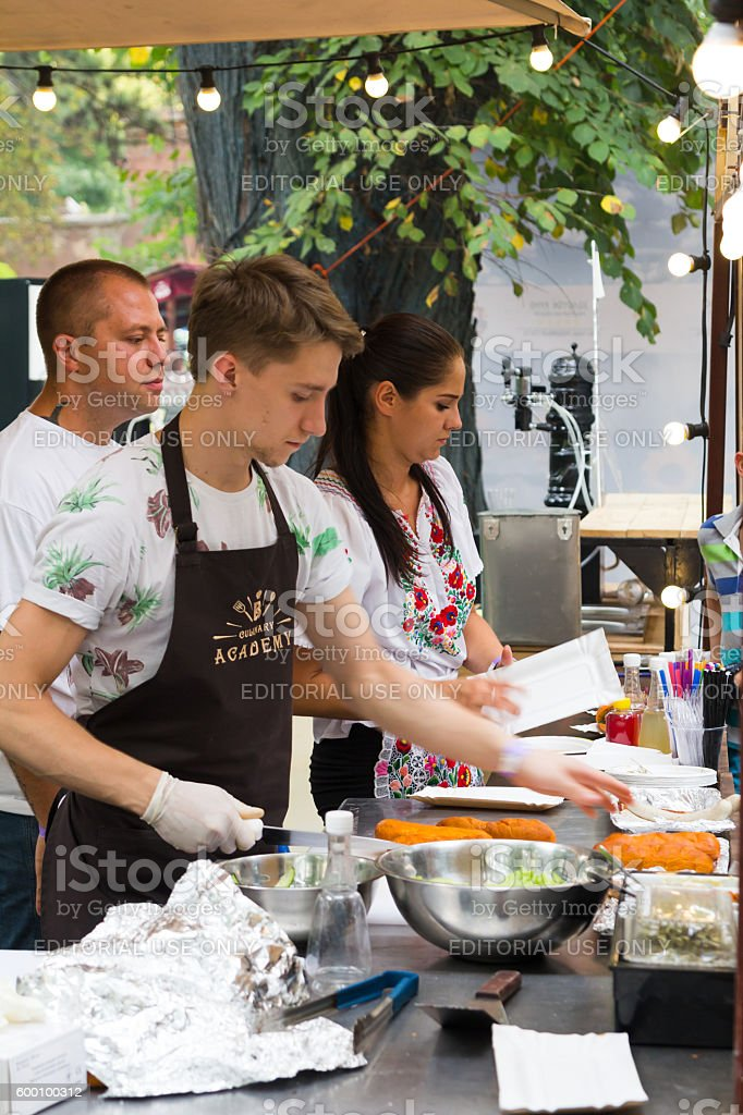 Odesa, Ukraine - August 06, 2016: chef is cooking meat stock photo