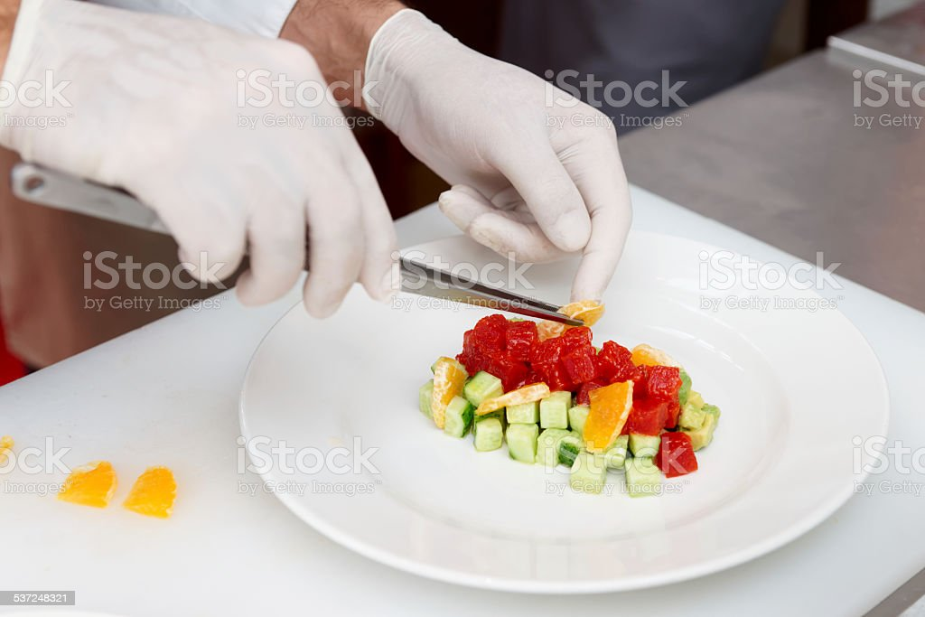 Chef is cooking tuna appetizer stock photo