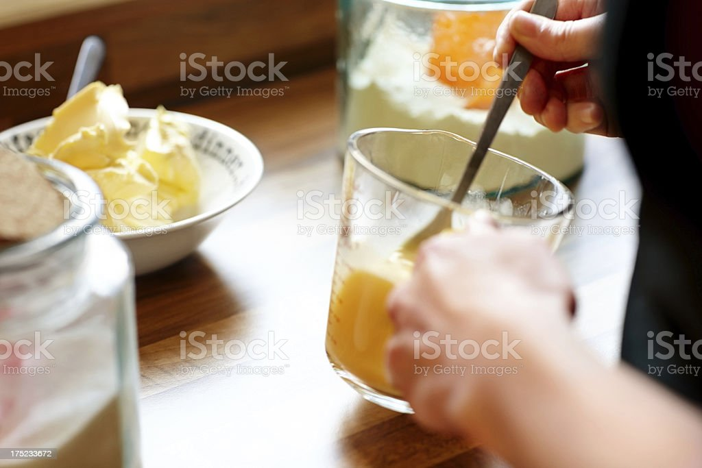 Chef making tasty cupcakes royalty-free stock photo