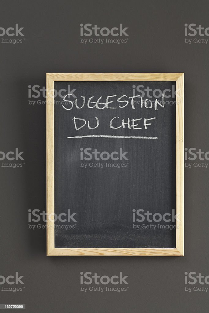 Suggestion du chef on blackboard royalty-free stock photo