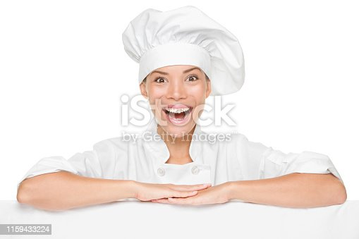 istock Chef or baker woman showing sign billboard excited 1159433224