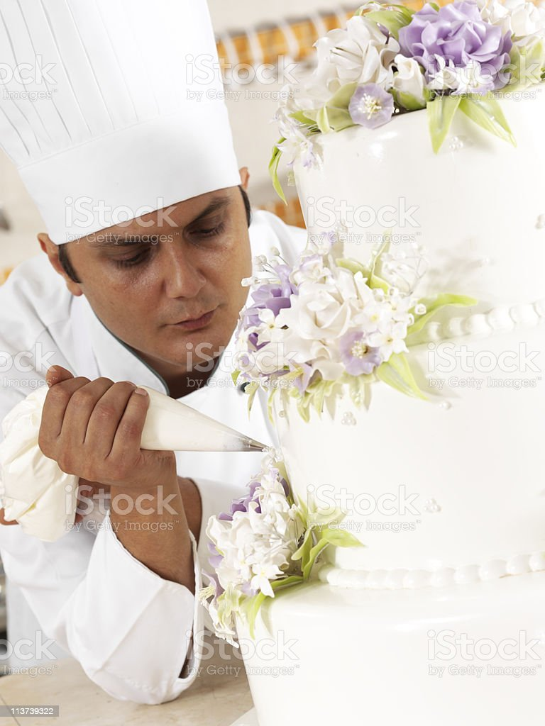Chef piping cream royalty-free stock photo