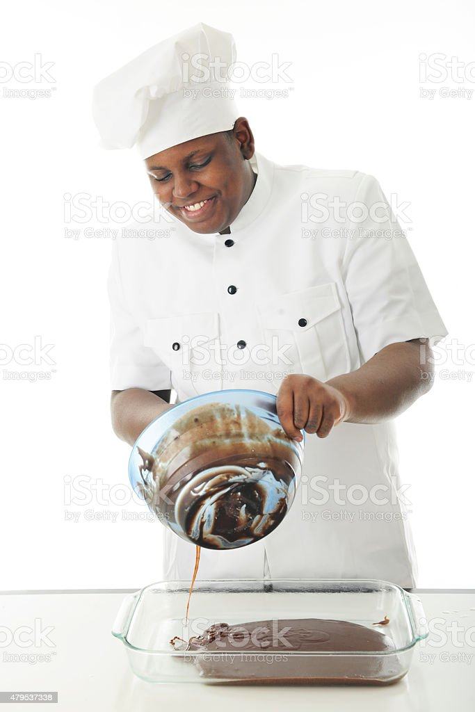 Chef Pouring Batter stock photo