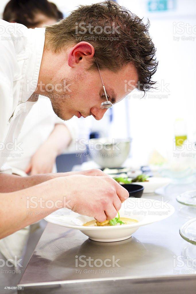 Chef preparing crab soup starter royalty-free stock photo
