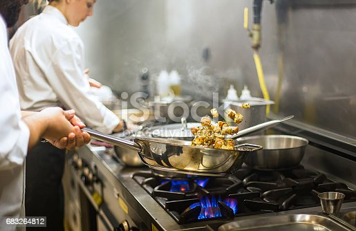 Chef preparing cuisine in hotel kitchen