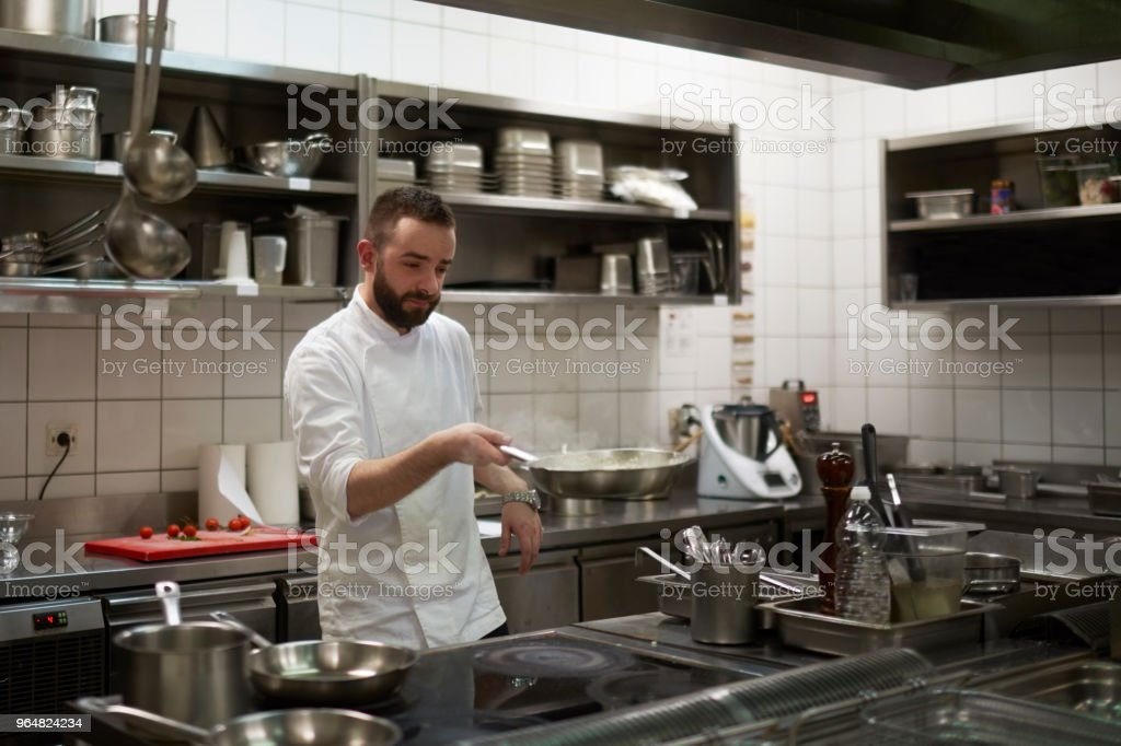Chef preparing food royalty-free stock photo