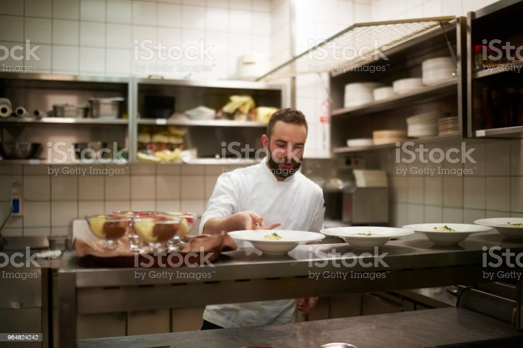 Chef preparing food royalty-free stock photo