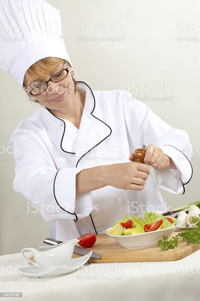 Chef Preparing salad royalty-free stock photo