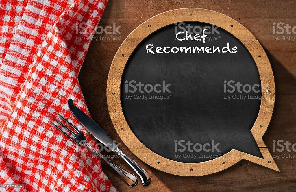 Chef Recommends - Blackboard Speech Bubble Shaped stock photo
