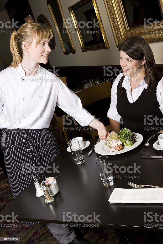 Chef Serves Lunch To Woman royalty-free stock photo