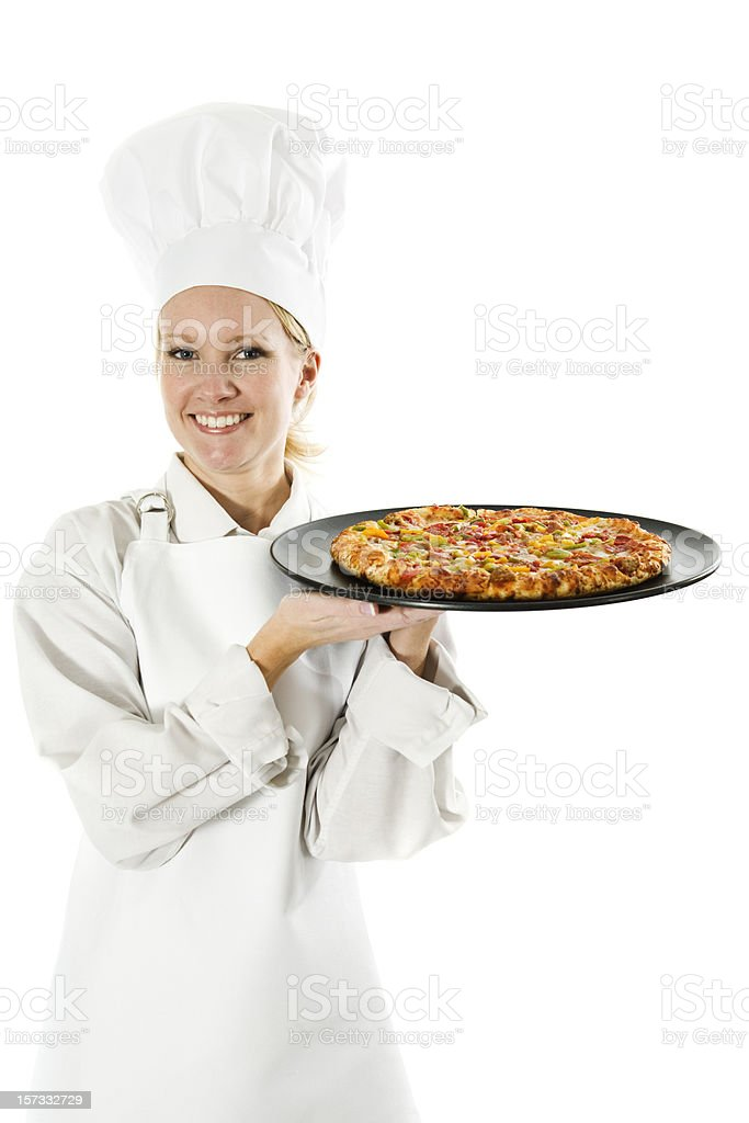 Chef Serves Pizza royalty-free stock photo