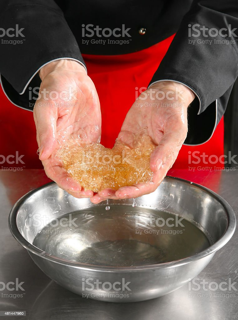 Chef show gelatin stock photo