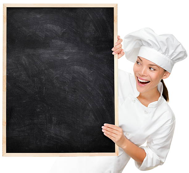 Küchenchef zeigt leere Menü Zeichen – Foto