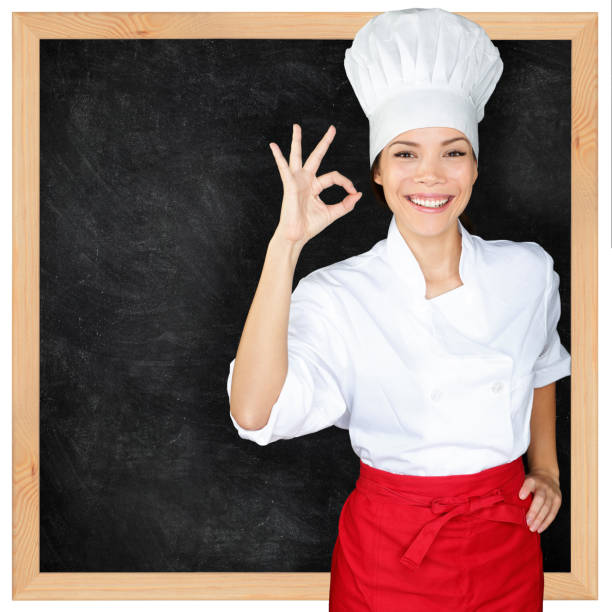 Chef mit MenüTafel und perfektem Handzeichen – Foto