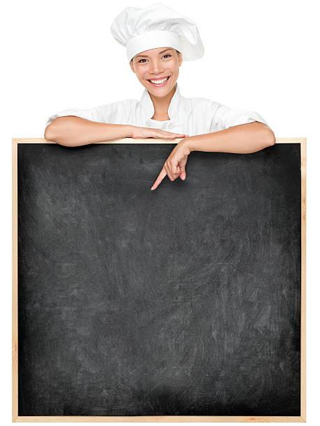 Chef mit Menü – Foto