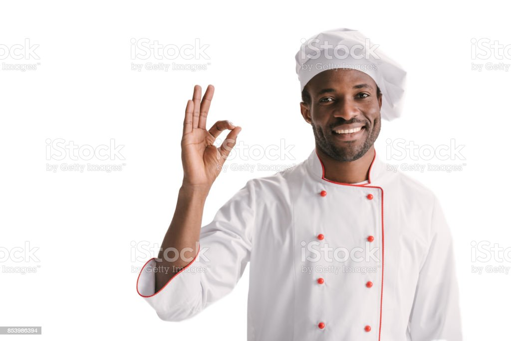 chef showing okay sign stock photo