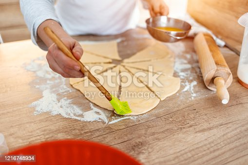 673400318 istock photo Chef smears olive oil to the top of pizza 1216748934