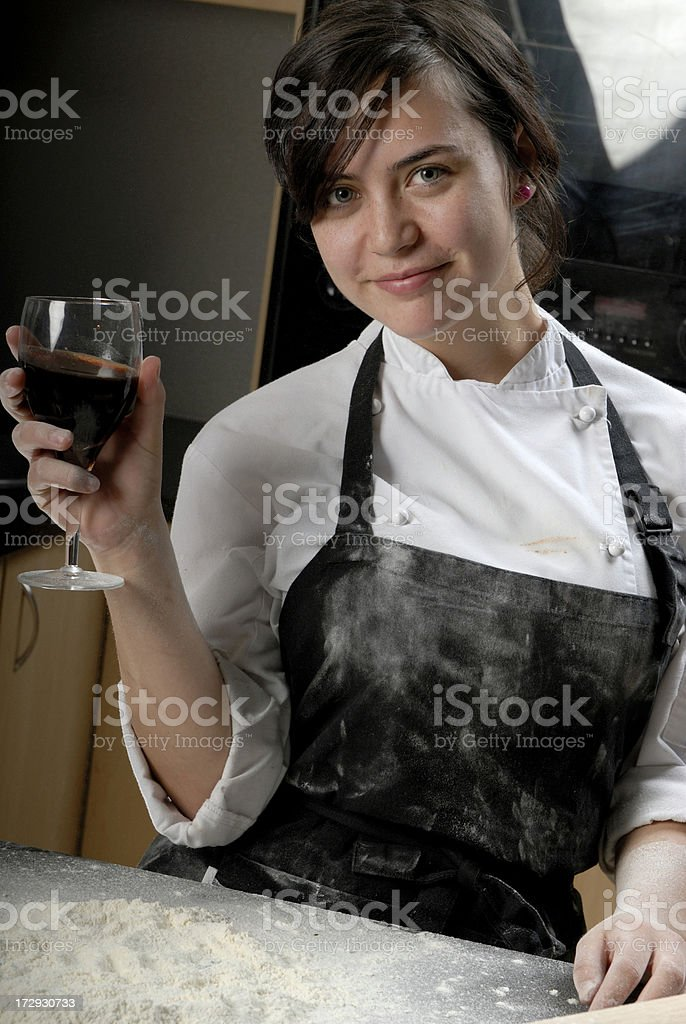 Chef taking break stock photo
