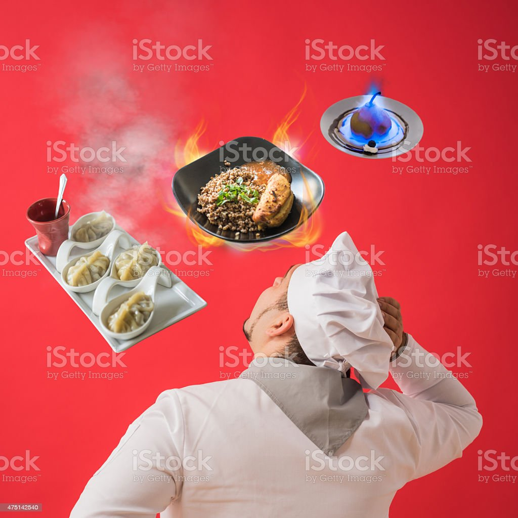 Chef thinking about new menu stock photo
