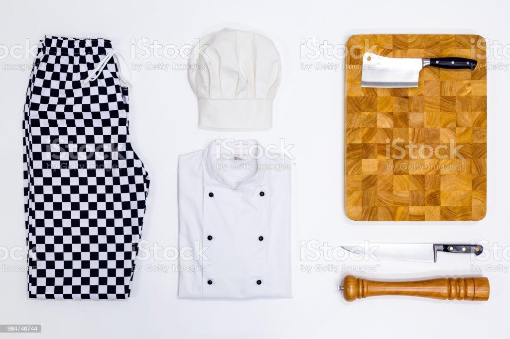 Chef whites flat lay stock photo