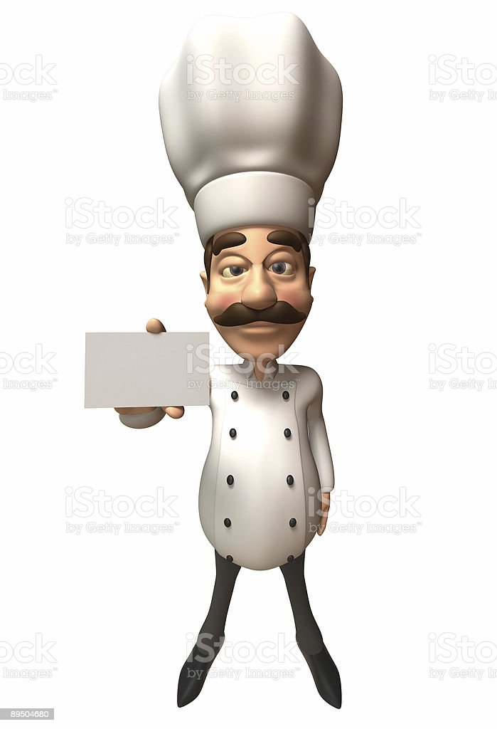 Chef with a blank card royalty free stockfoto