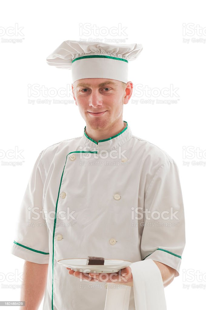 Chef with a cookie on plate royalty-free stock photo