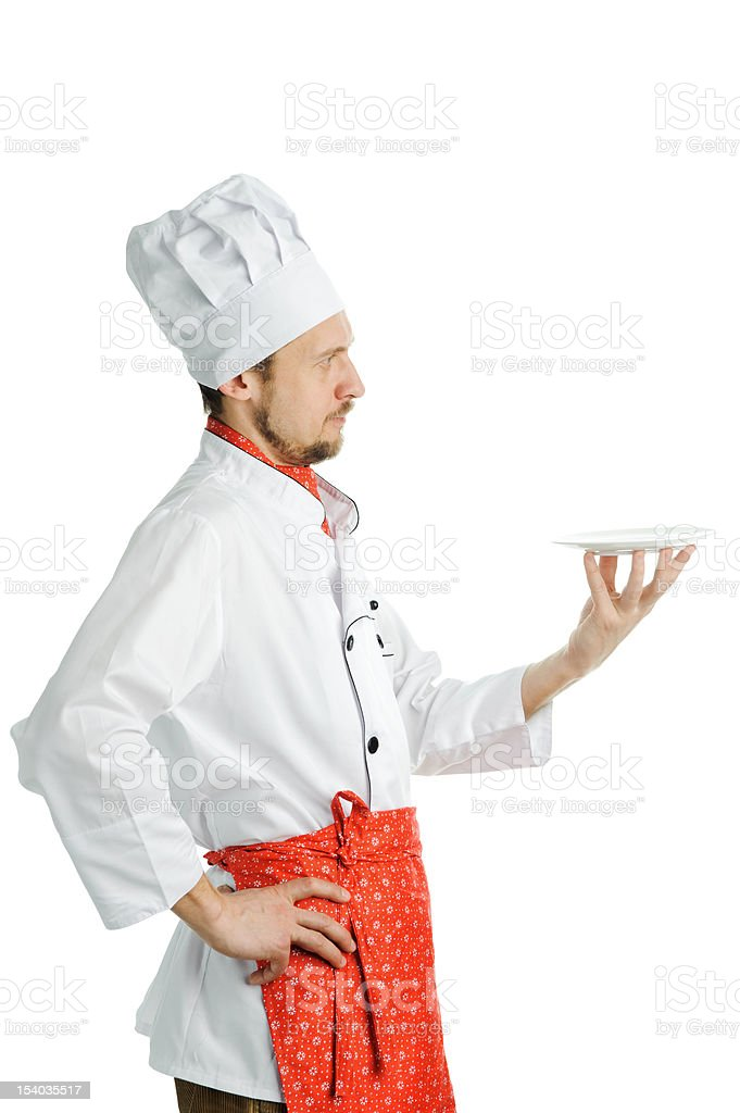 Chef with a dish stock photo