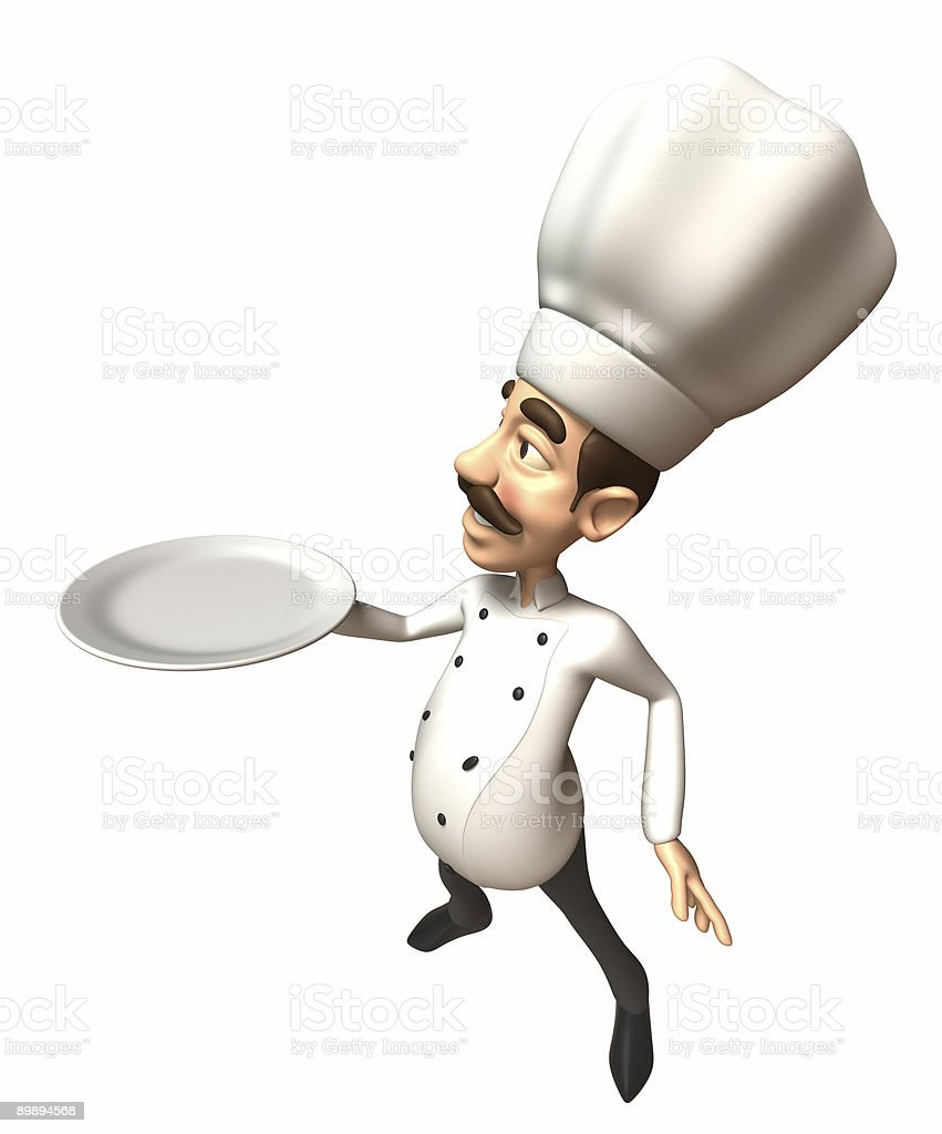 Chef with an empty plate royalty-free stock photo