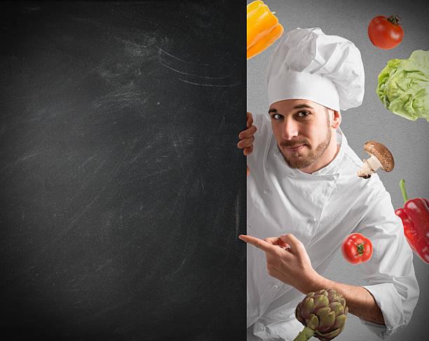 Chef con lavagna - foto stock
