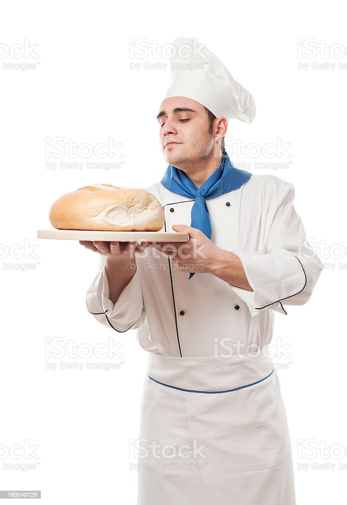 Chef with bread, isolated on white stock photo