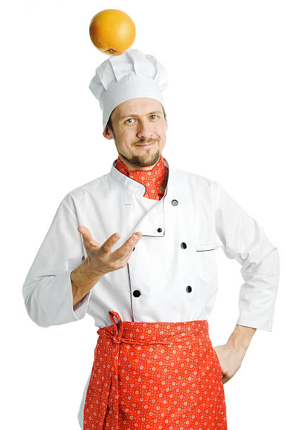 Chef with orange stock photo