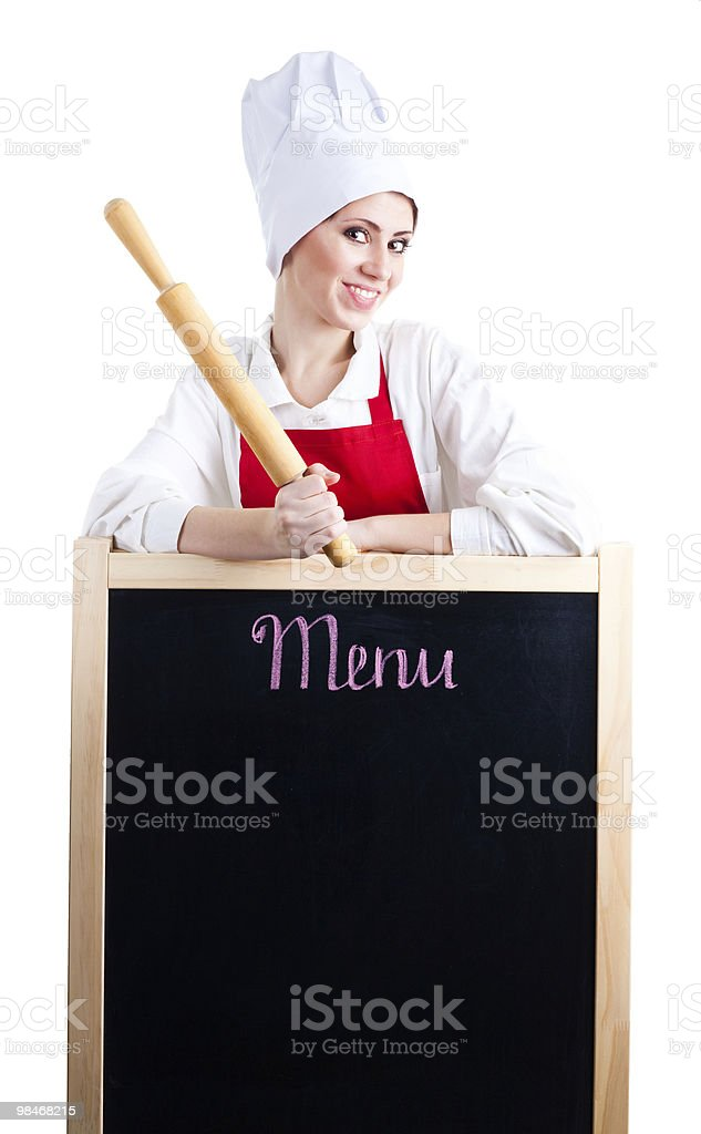 Chef with rolling pin show menu royalty-free stock photo