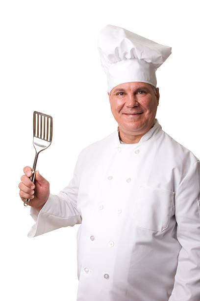Chef with spatula stock photo