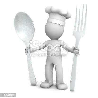 istock 3D chef with spoon and fork 182059802