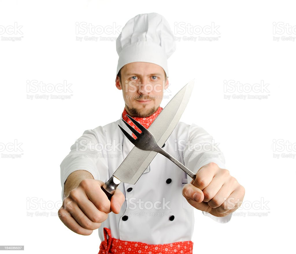 Chef with tools stock photo