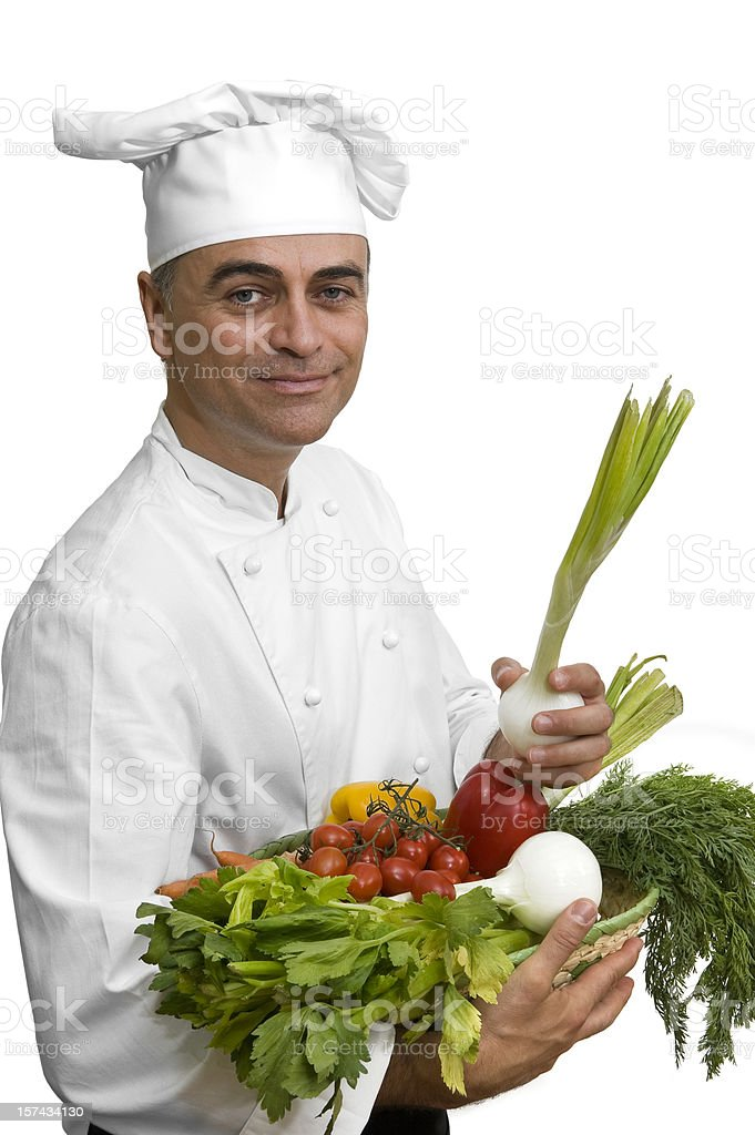Chef with vegetables royalty-free stock photo
