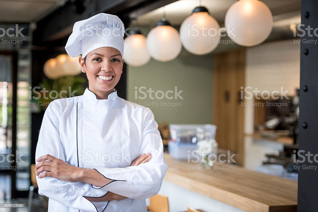 Chef working at a restaurant stock photo