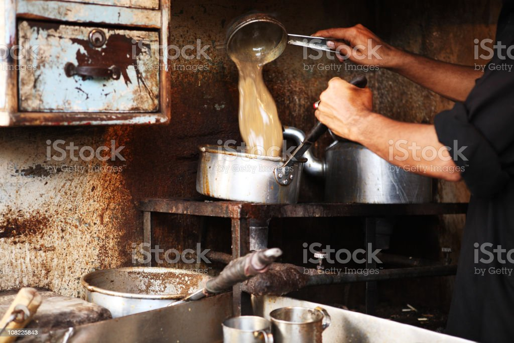 Chef Working in Traditional Chai Cafe, Pakistan stock photo
