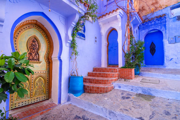 Chefchaouen, a city with blue painted houses and narrow, beautiful, blue streets, Morocco, Africa stock photo