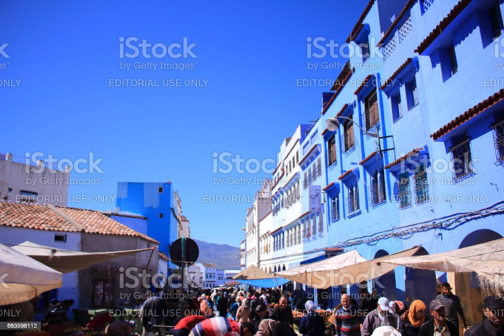 Chefchaouen, Morocco - MAR 09th, 2017: People in the market stock photo