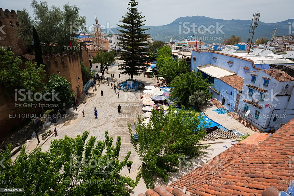 Chefchaouen Square, Morocoo in daytime stock photo