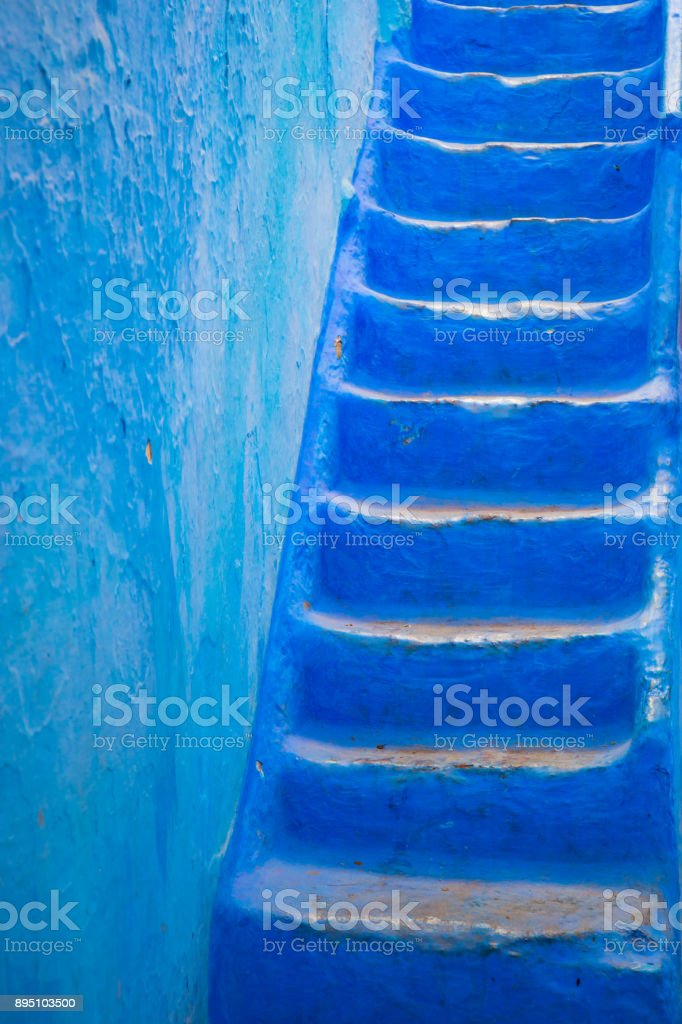 Chefchaouen's fantastic blue wall stock photo