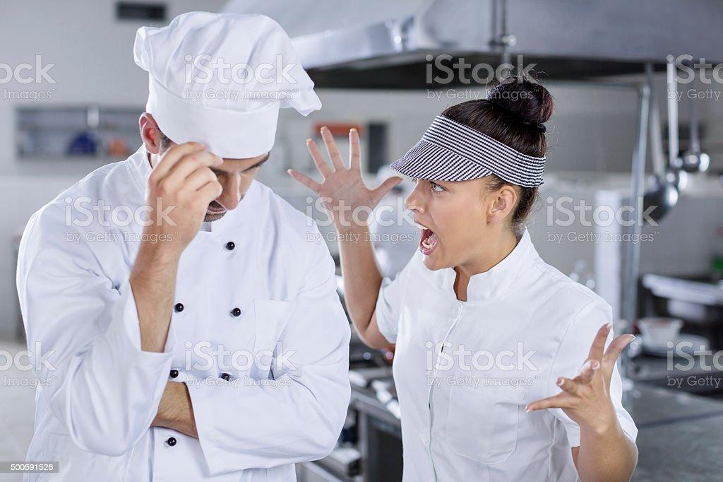 Chefs fight stock photo