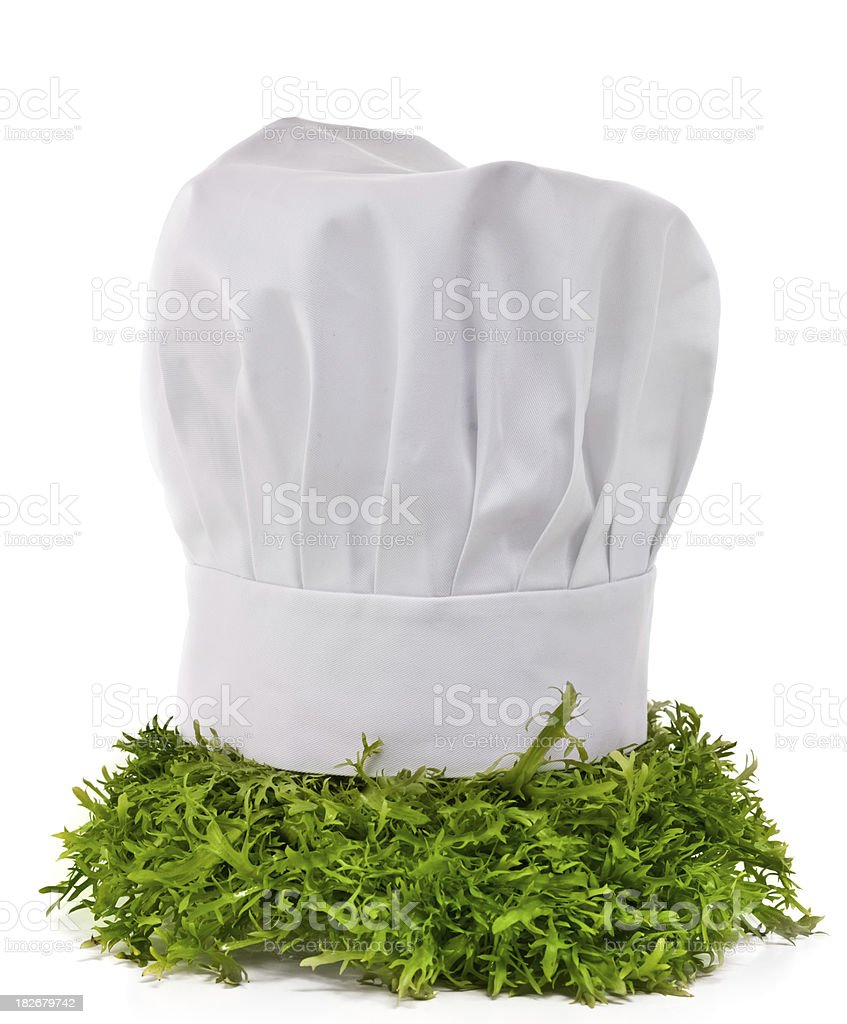 Chef's hat and salad royalty-free stock photo