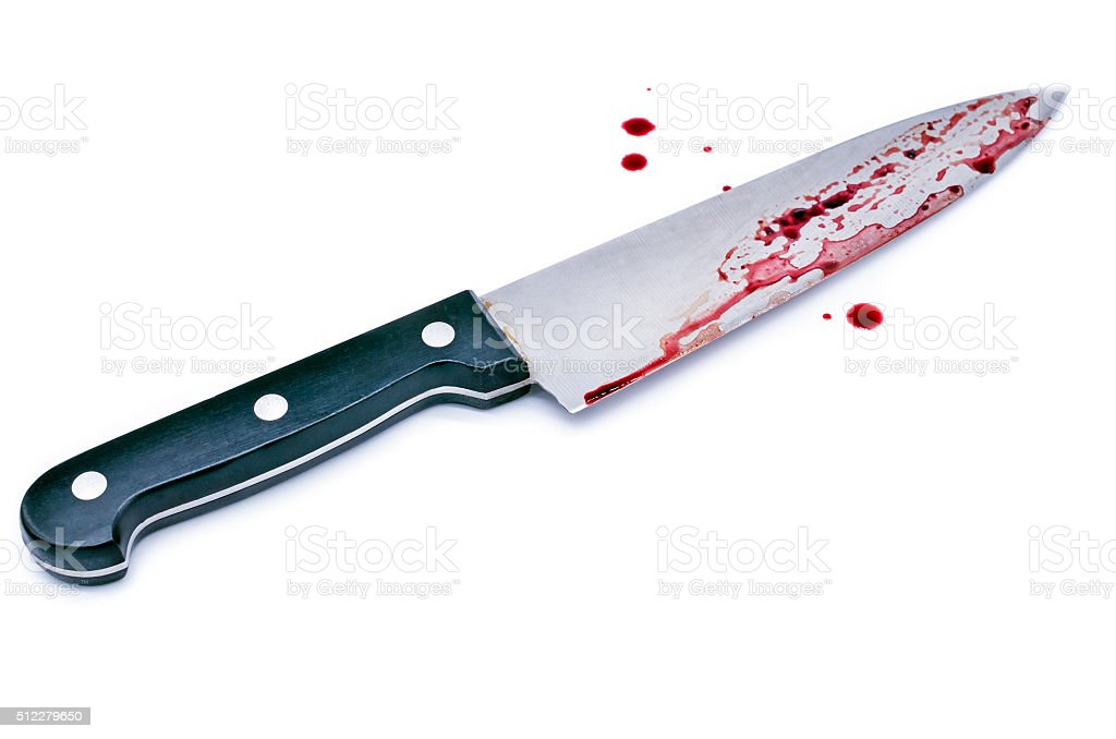 Chef's knife with Dripping blood stock photo