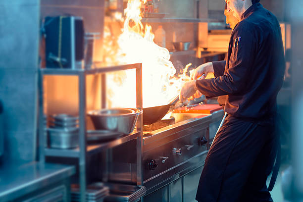 Chefs Preparing Meal In a Wok. stock photo